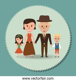 retro family parents with their children