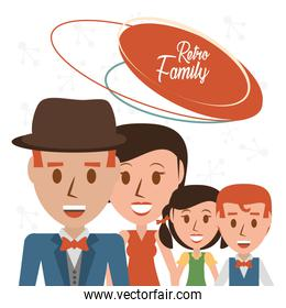 retro family parents with their son