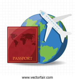 earth planet with airplane and passport