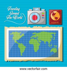 global map with camera and passport