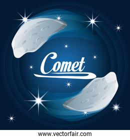 comet in the nebulae galaxy in the universe