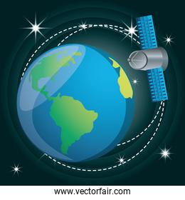 earth planet with technology satellite