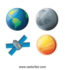 set planets with natural and technology satellites