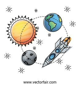 sun and earth with mercury and rocket exploration