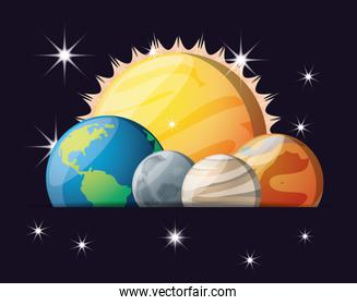 sun with planets of solar system in the universe