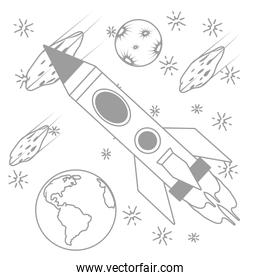 rocket with planets and asteroid