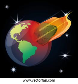 earth planet with asteroid in the universe