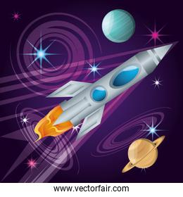 rocket with planets in the universe atmosphere