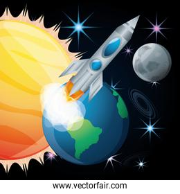 sun and earth with moon and rocket