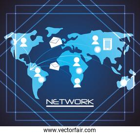 network globe social connections with date information