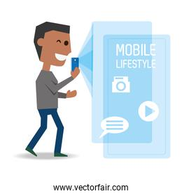 man with smartphone in the hand and technological apps