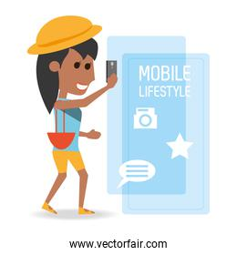 afro woman with smartphone in the hand and technological apps