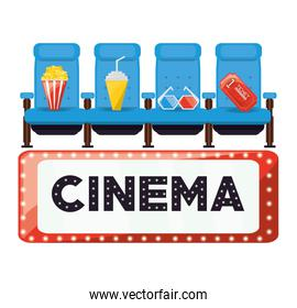 cinema with comfortable chair and food with ticket