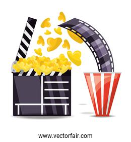 clapperboard with popcorn and filmstrip scene