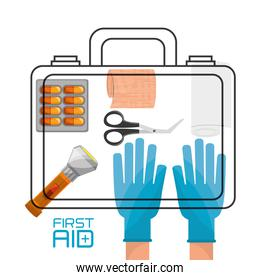 hand with suitcase first aid kit with medical tools