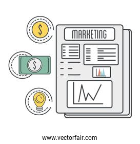 marketing documents with coin and bill cash money icons