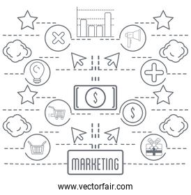 marketing business information icons background