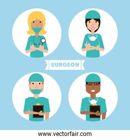 group specialist medical doctors with hat and mask