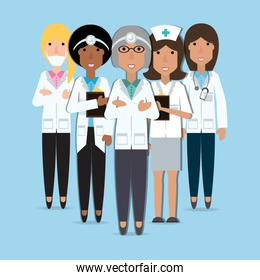 women doctors and nurse with medical tools