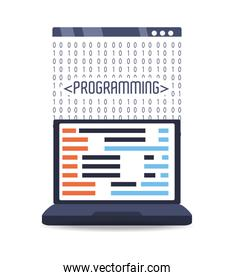 computer with programmig coding on screen