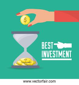 businesswoman and hourglass investment concept