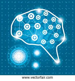 technology brain connection with circuits connection