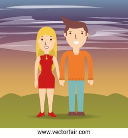 happy couple lover with romantic relationship