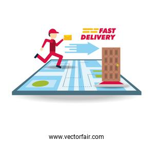 delivery courier with message and map ubication