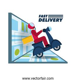 courier delivery with box package in the motocycle and map
