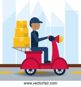 courier delivery with boxes in the motocycle