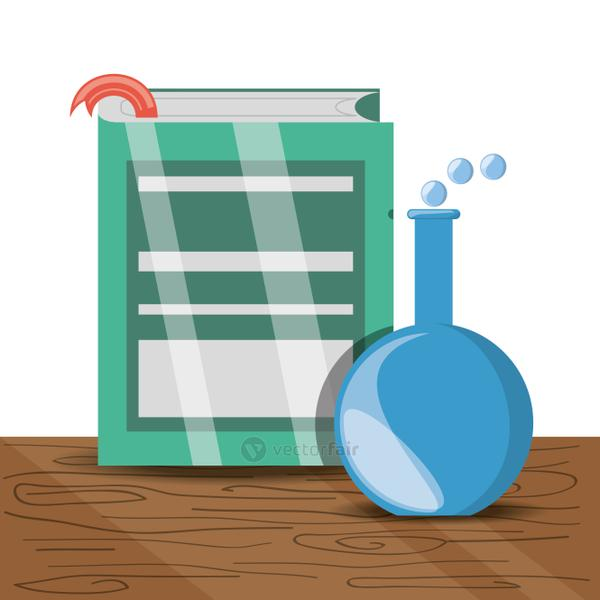 book and erlenmeyer flask with education knowledge