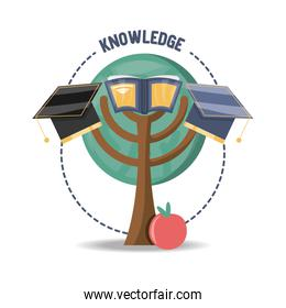tree with book and graduation hat and apple fruit