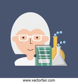 woman teacher chemistry with book and erlenmeyer flask