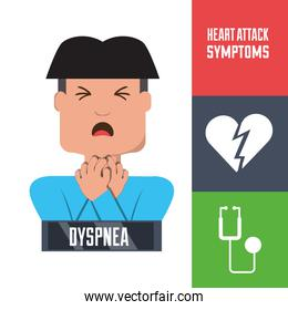 man with heart atack symptoms and condition