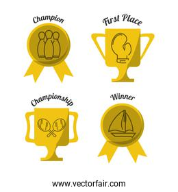 set flat icon trophy and medal sport