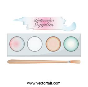 watercolor palette and brush design
