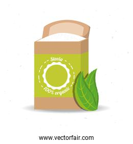 stevia natural sweetener product and leaves