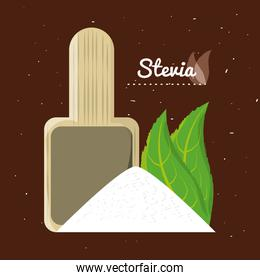 stevia natural sweetener leaves and spoon