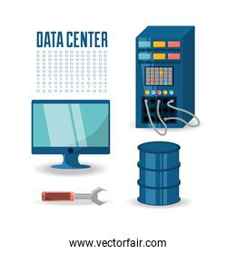 set icon computer wrench database and data center