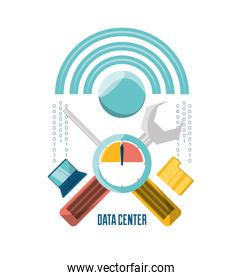 data center connection tools with computer and files