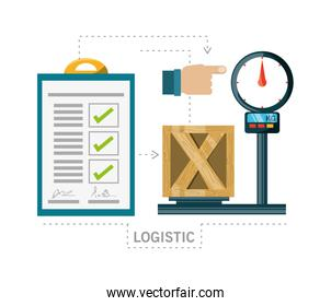checklist and box over scales logistic shipping
