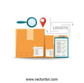 magnifying glass boxes and logistic shipping