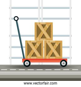 boxes over platform trolley logistic shipping
