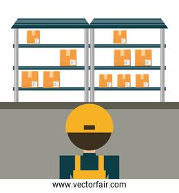 warehouse with boxes for shipping and logistic agent