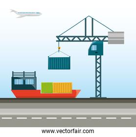 cargo ship with container and crane