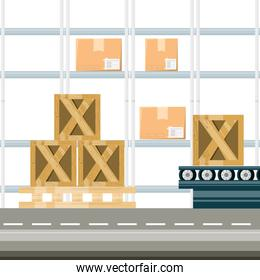 warehouse with boxes for shipping