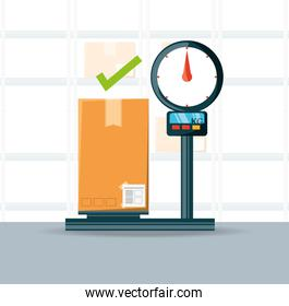 warehouse and box over scales logistic shipping