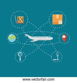 concept logistic and shipping around the world