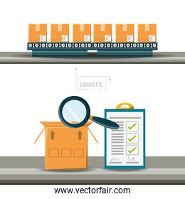 warehouse boxes and cheklist logistic shipping