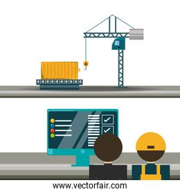 logistic   with container and crane